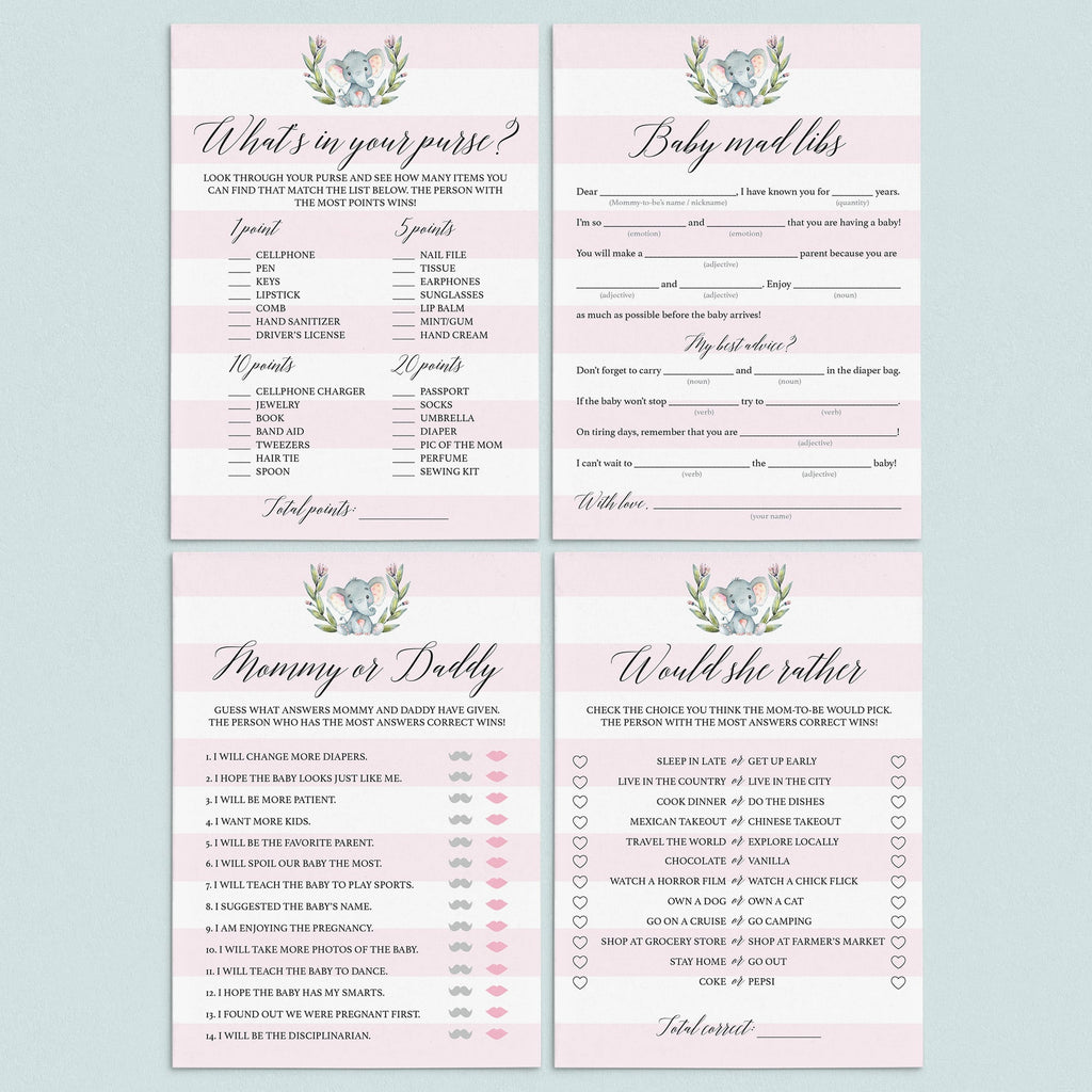 Little elephant girl baby shower games set printable by LittleSizzle
