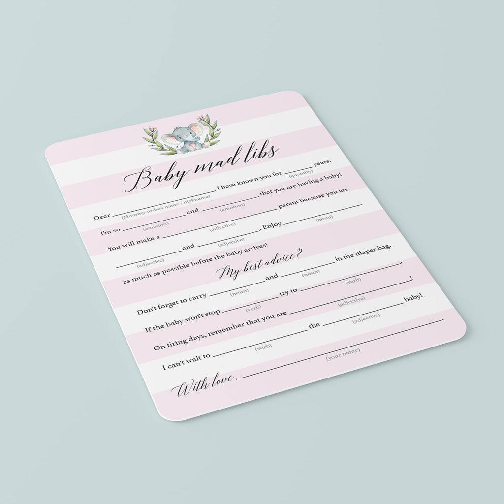 Baby shower mad libs game for girl party by LittleSizzle