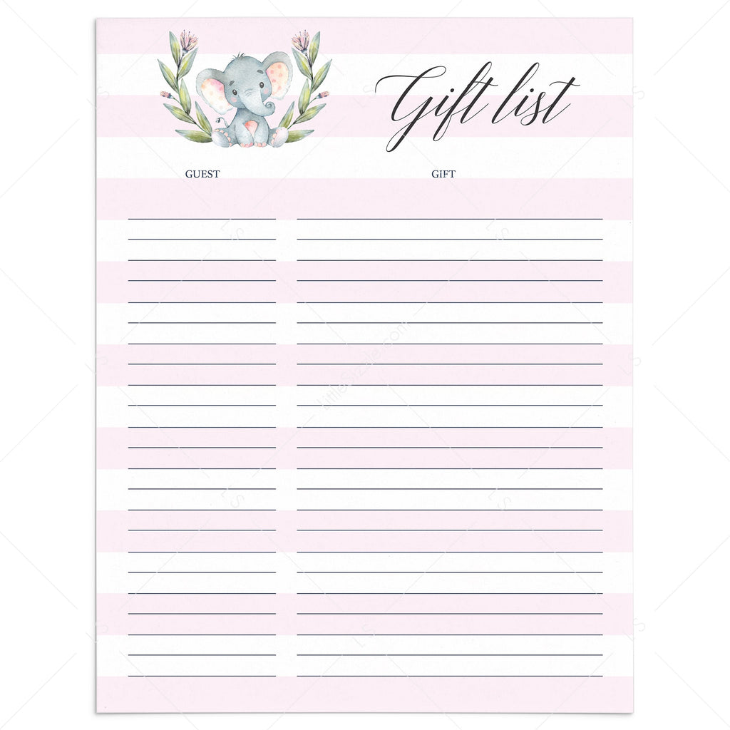 Printable pink and white stripes gift list by LittleSizzle