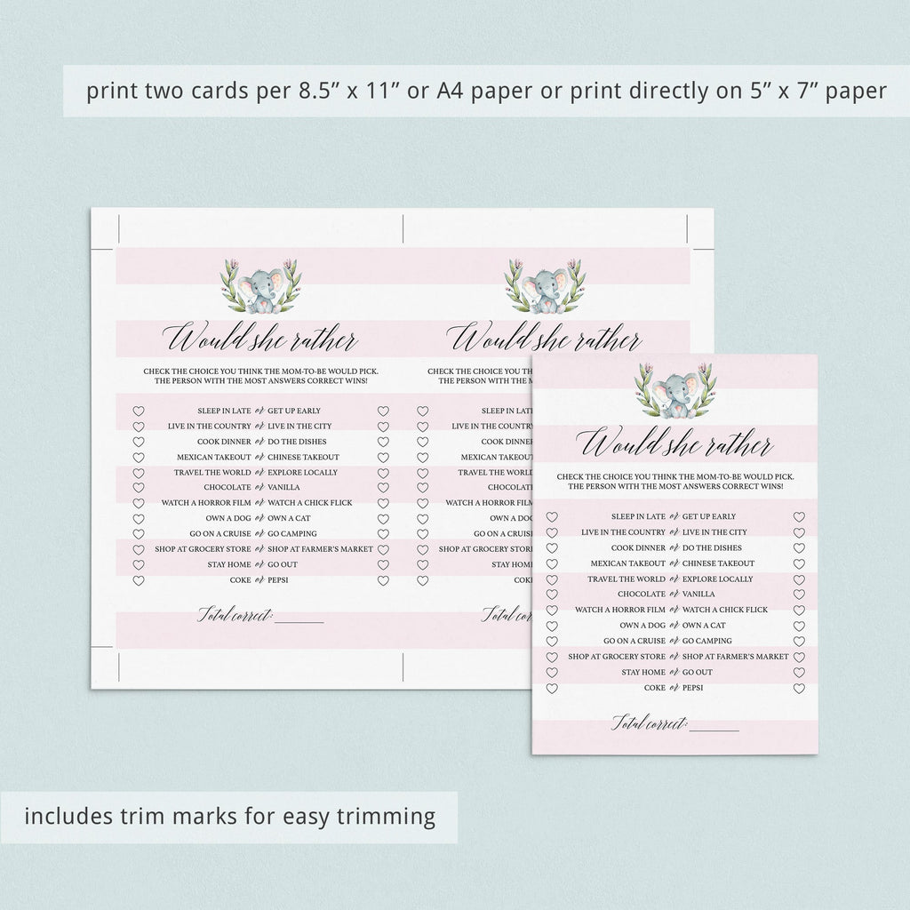 Little Elephant Girl Baby Shower Games Set Printable