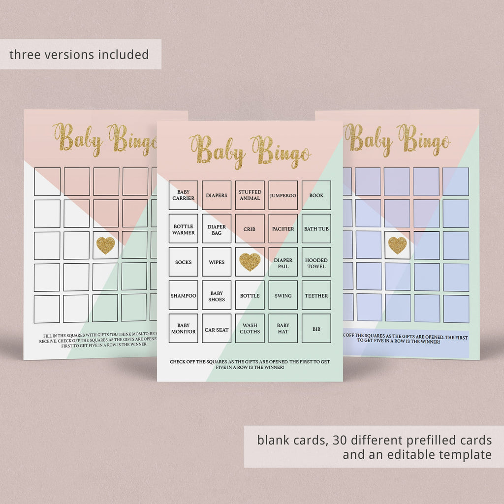 Mint and gold baby shower bingo by LittleSizzle