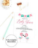 Pink and mint baby shower DIY evite by LittleSizzle