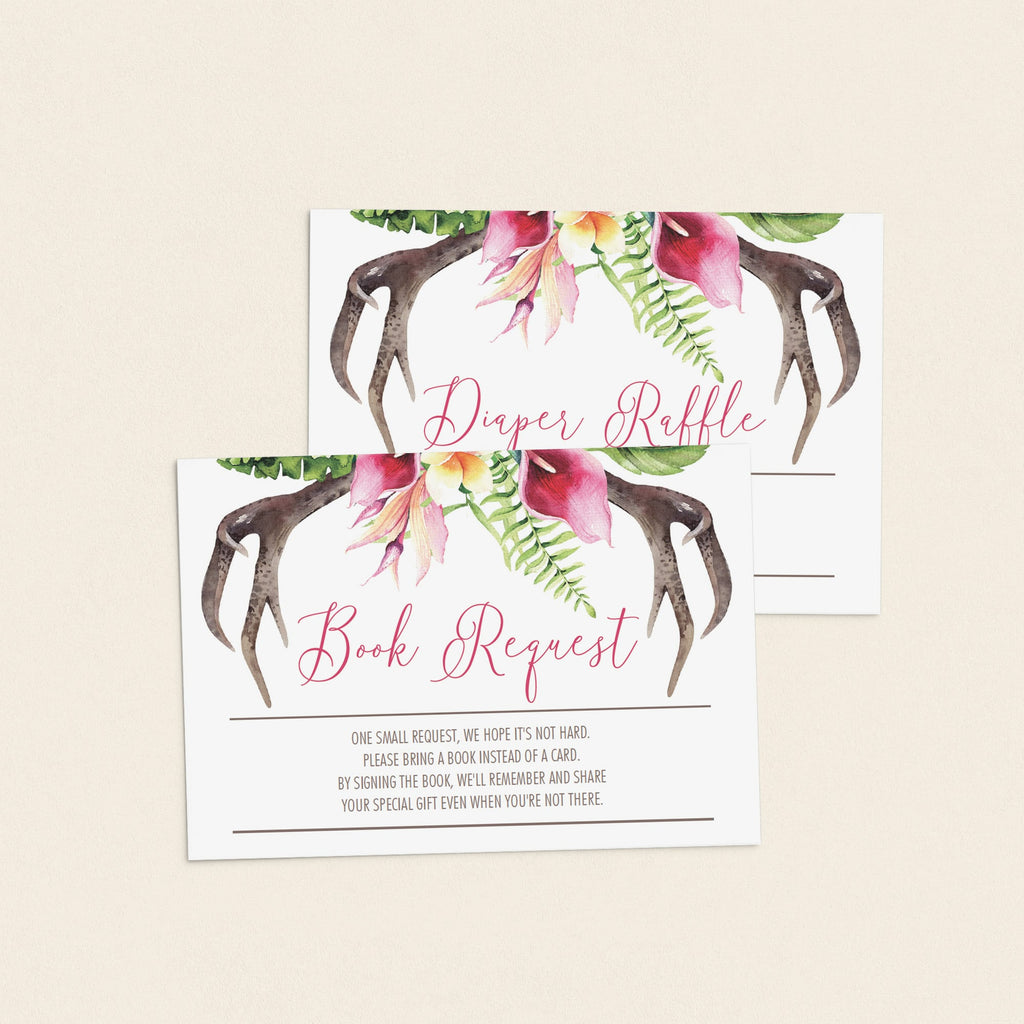 Floral Antler Baby Shower Invitation Set