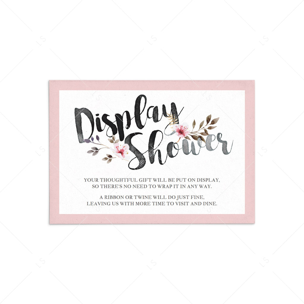 Display Shower Insert Card Pink Floral by LittleSizzle