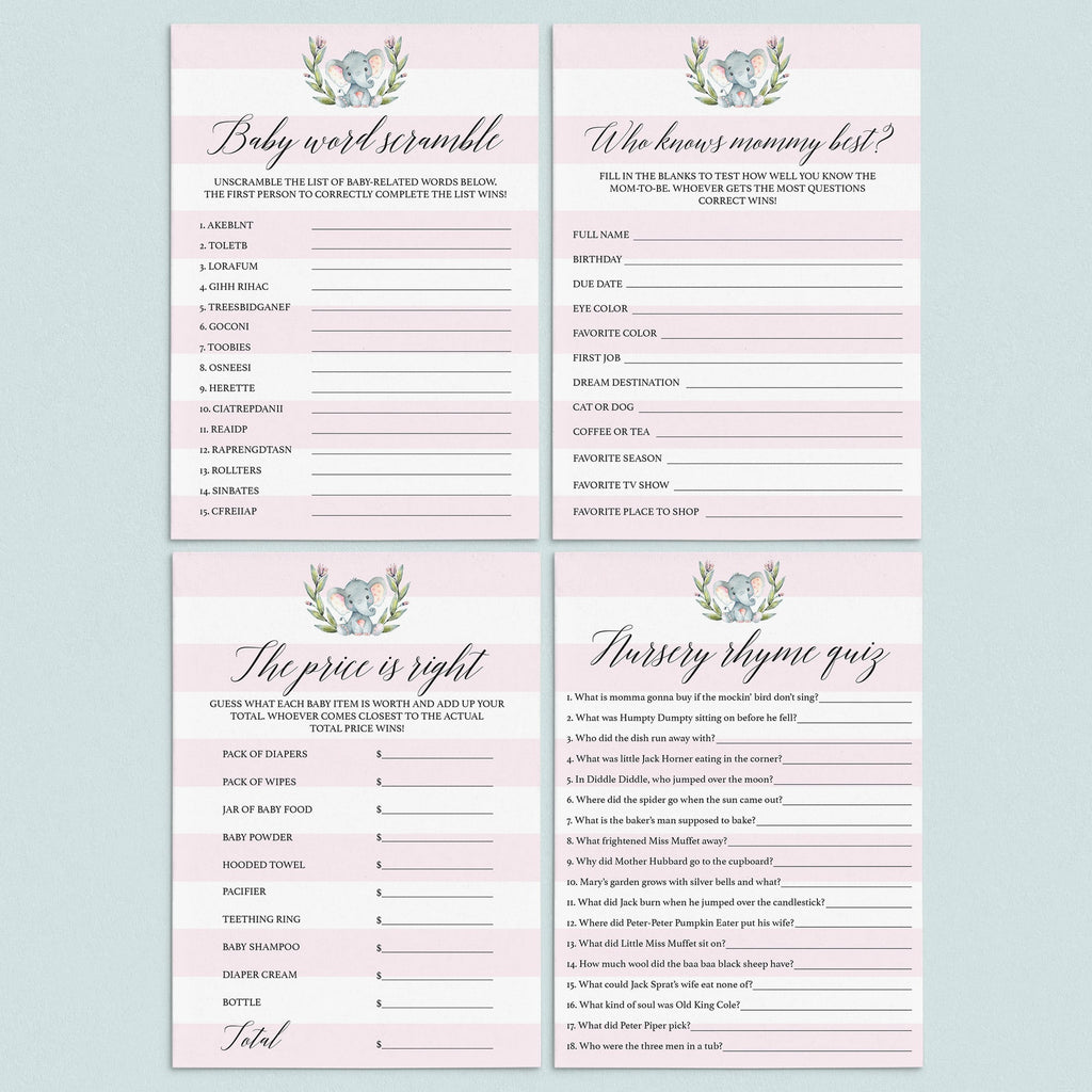 Girl baby shower games bundle printable by LittleSizzle