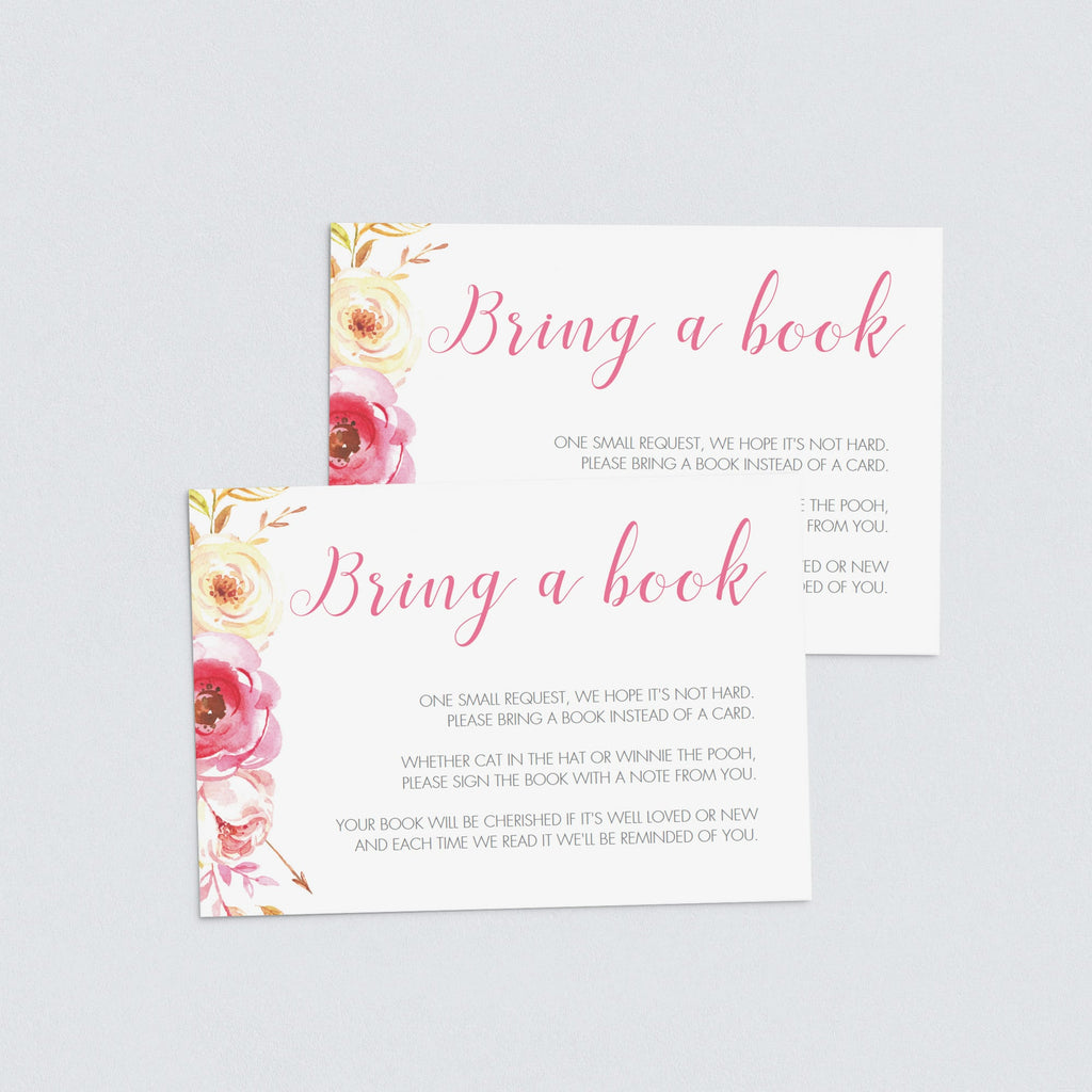 Editable baby shower bring a book cards by LittleSizzle