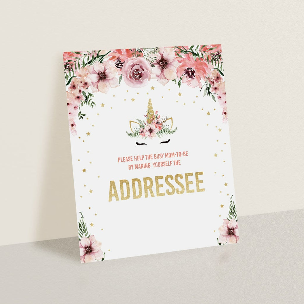 Gold unicorn baby party table sign address an envelope by LittleSizzle