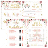 Girl baby shower games package printable files unicorn themed by LittleSizzle