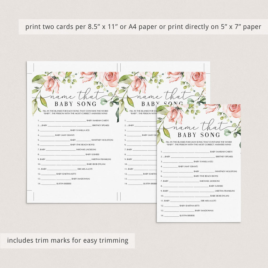 Name the song baby shower games instant download floral theme by LittleSizzle