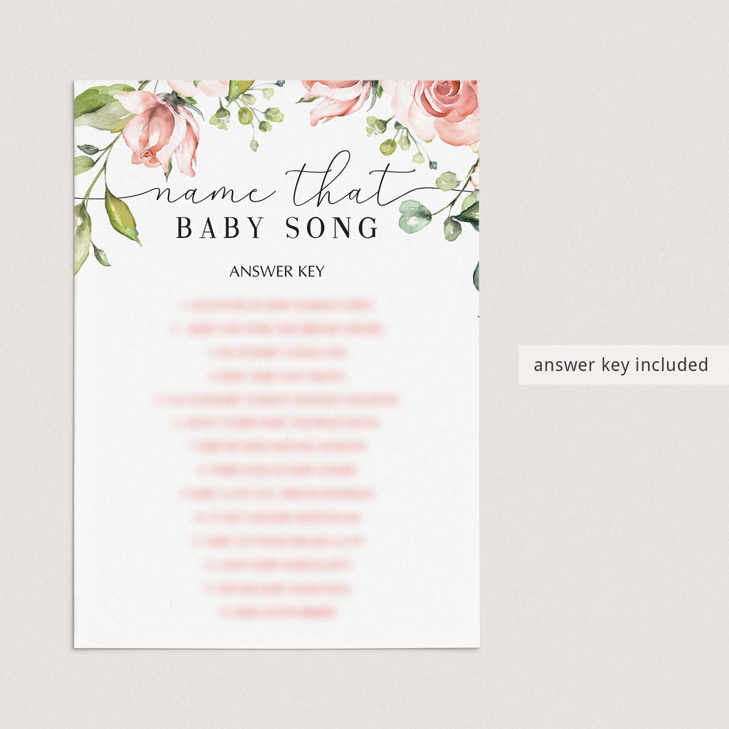 Baby shower name the song game printable with pink flowers by LittleSizzle