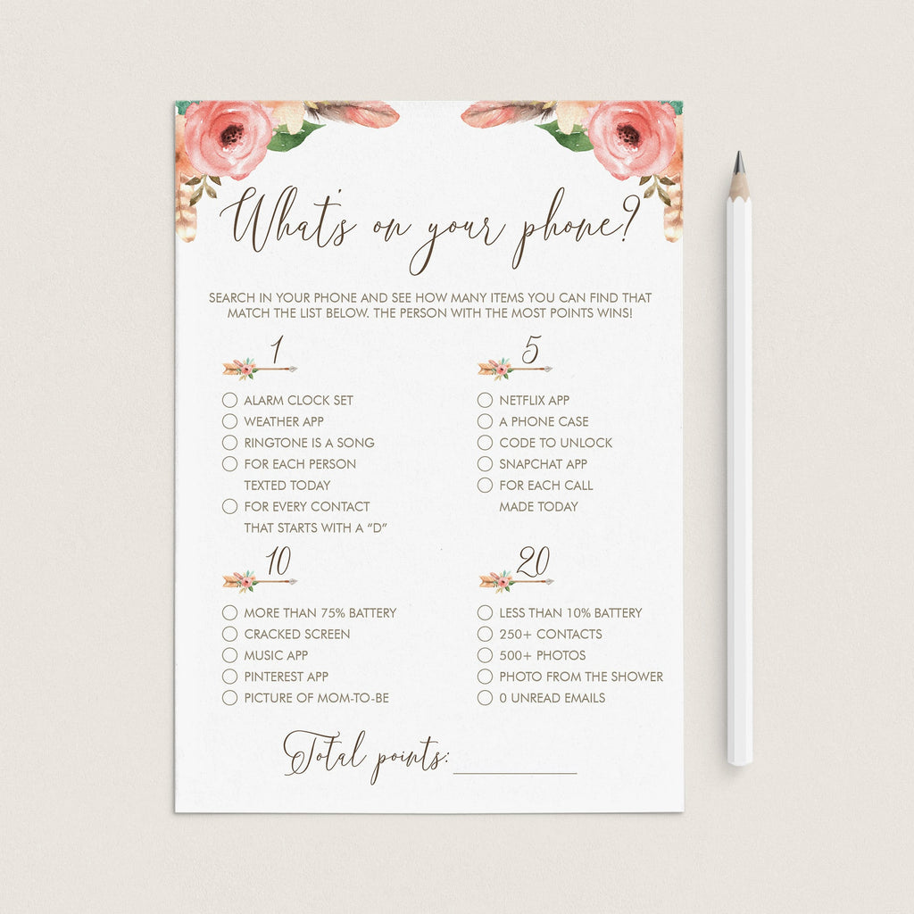 Phone Raid Game Printable for Tribal Baby Shower Party