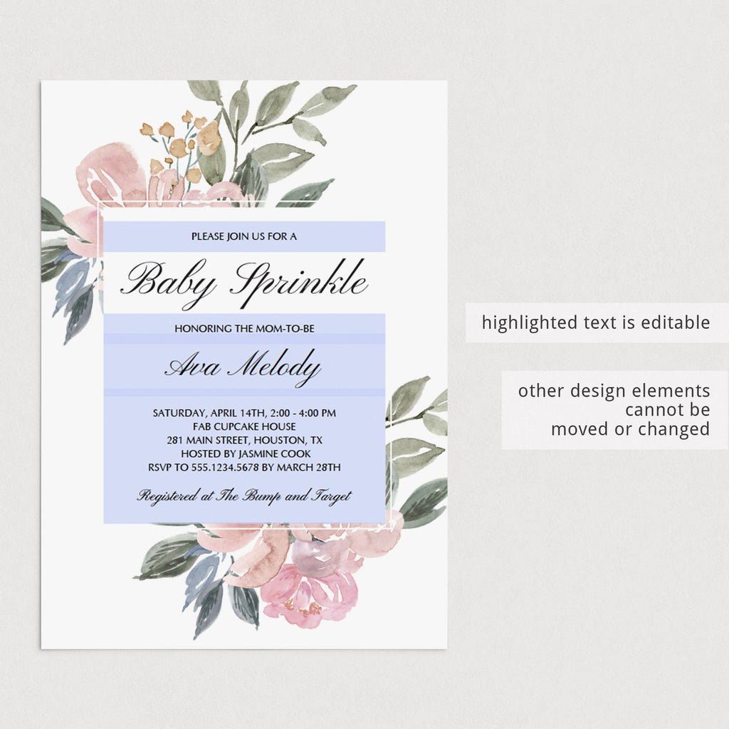 DIY baby sprinkle invitation template watercolor floral by LittleSizzle