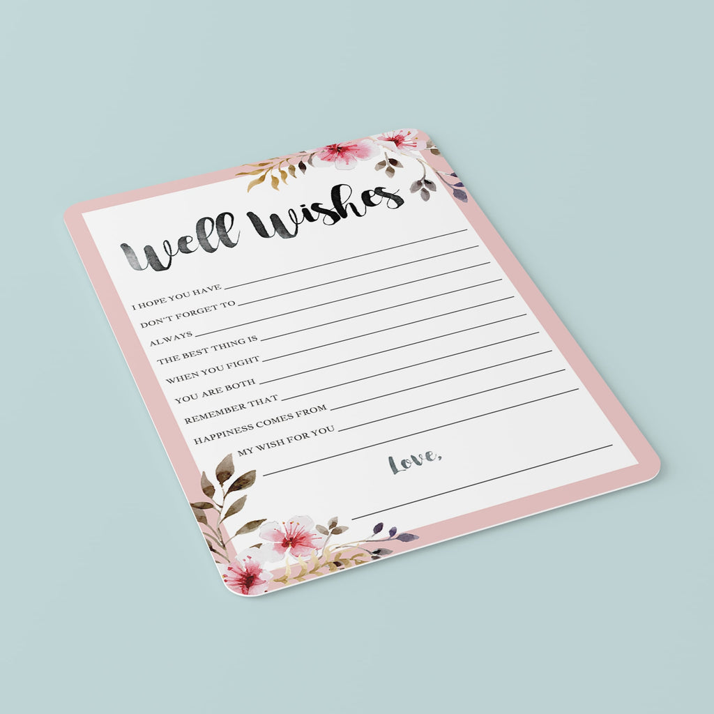 Spring Wedding Well Wishes Cards Printable