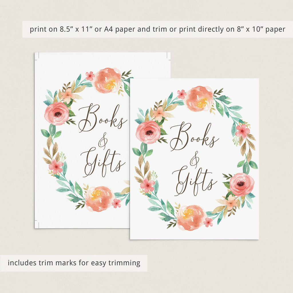 Printable Book Table Sign for Floral Baby Shower