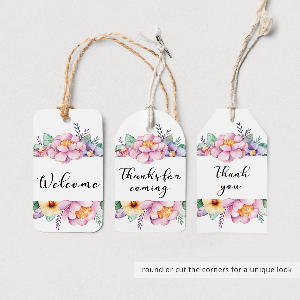 Favor tag with pink and purple flowers by LittleSizzle