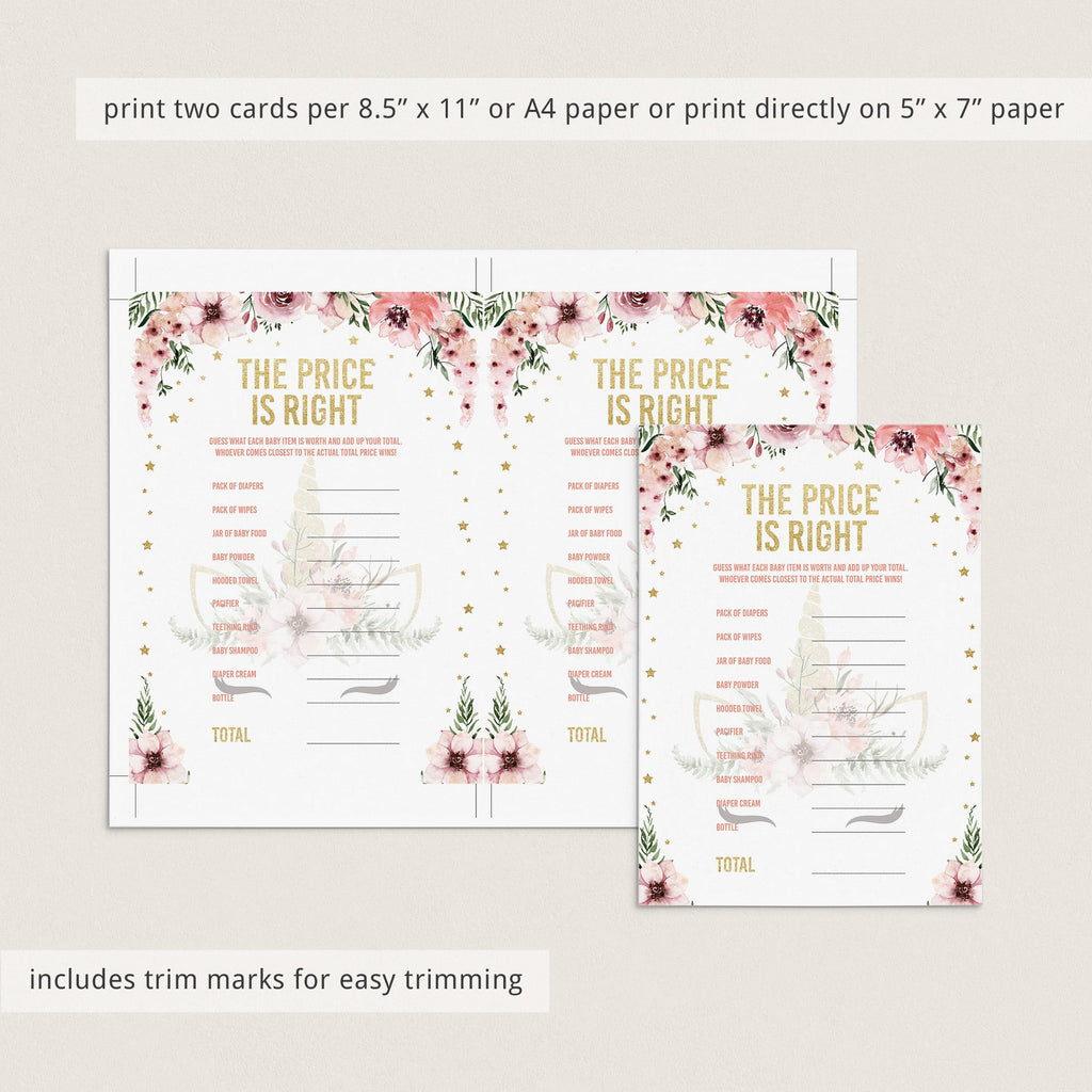 Gold babyshower the price is right game printable by LittleSizzle