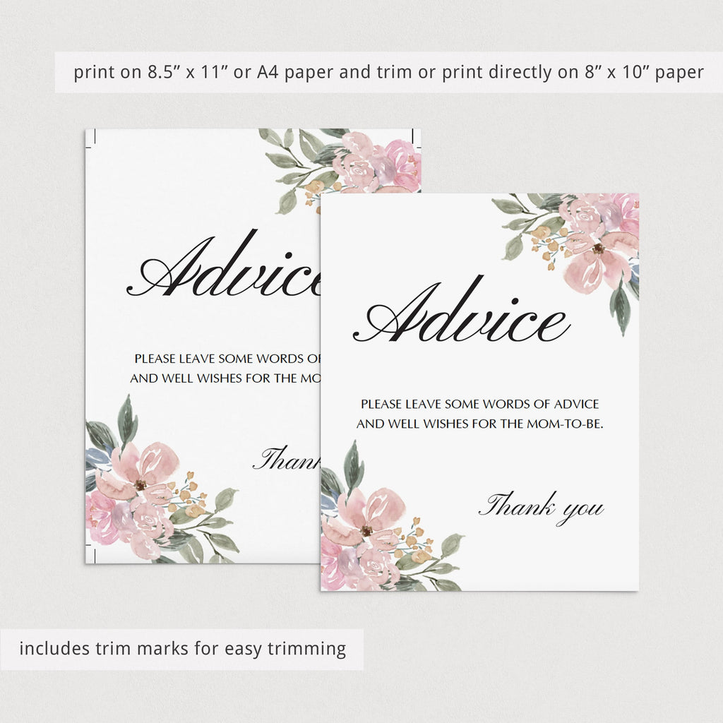 Advice template for floral baby shower by LittleSizzle