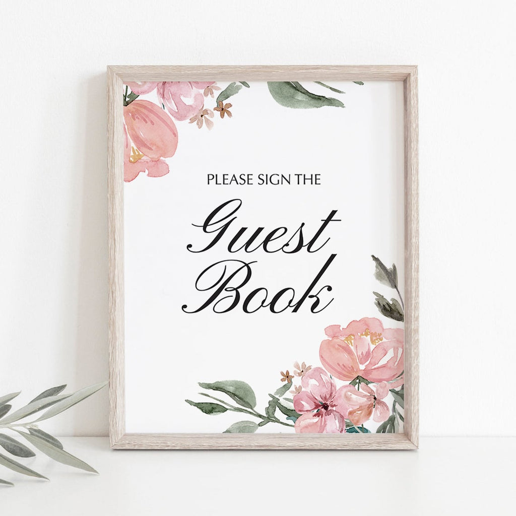 Pink watercolor flowers decorations guest book sign by LittleSizzle