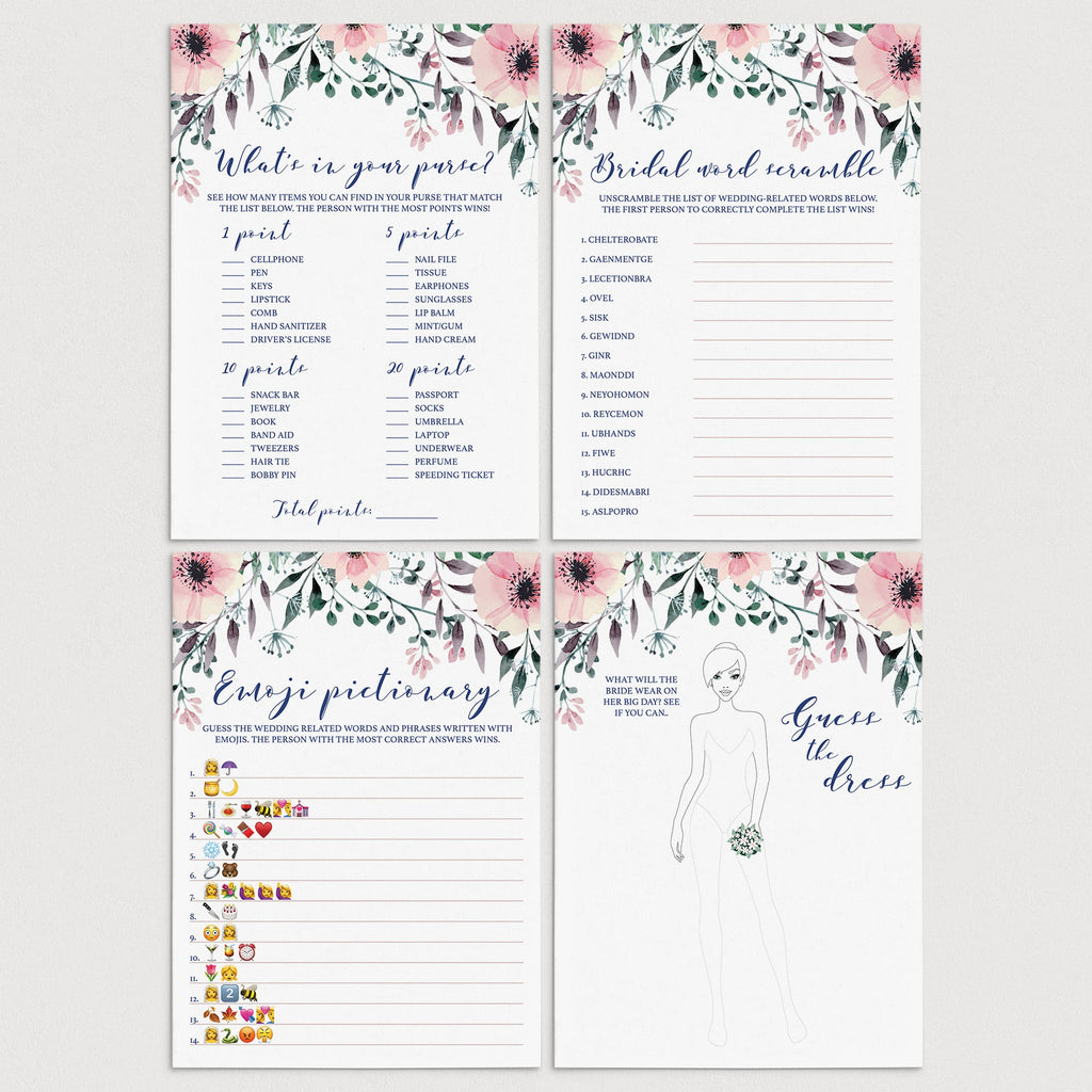 Pink Flowers Bridal Shower Games Pack Instant Download by LittleSizzle