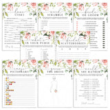 pink flowers bridalshower games package printables by LittleSizzle
