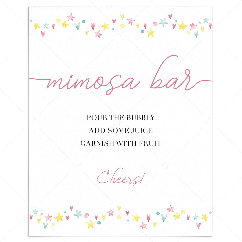 Pink and yellow sign for mimosa bar download by LittleSizzle