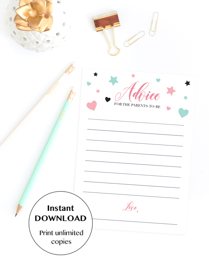 Girl shower advice cards download PDF by LittleSizzle