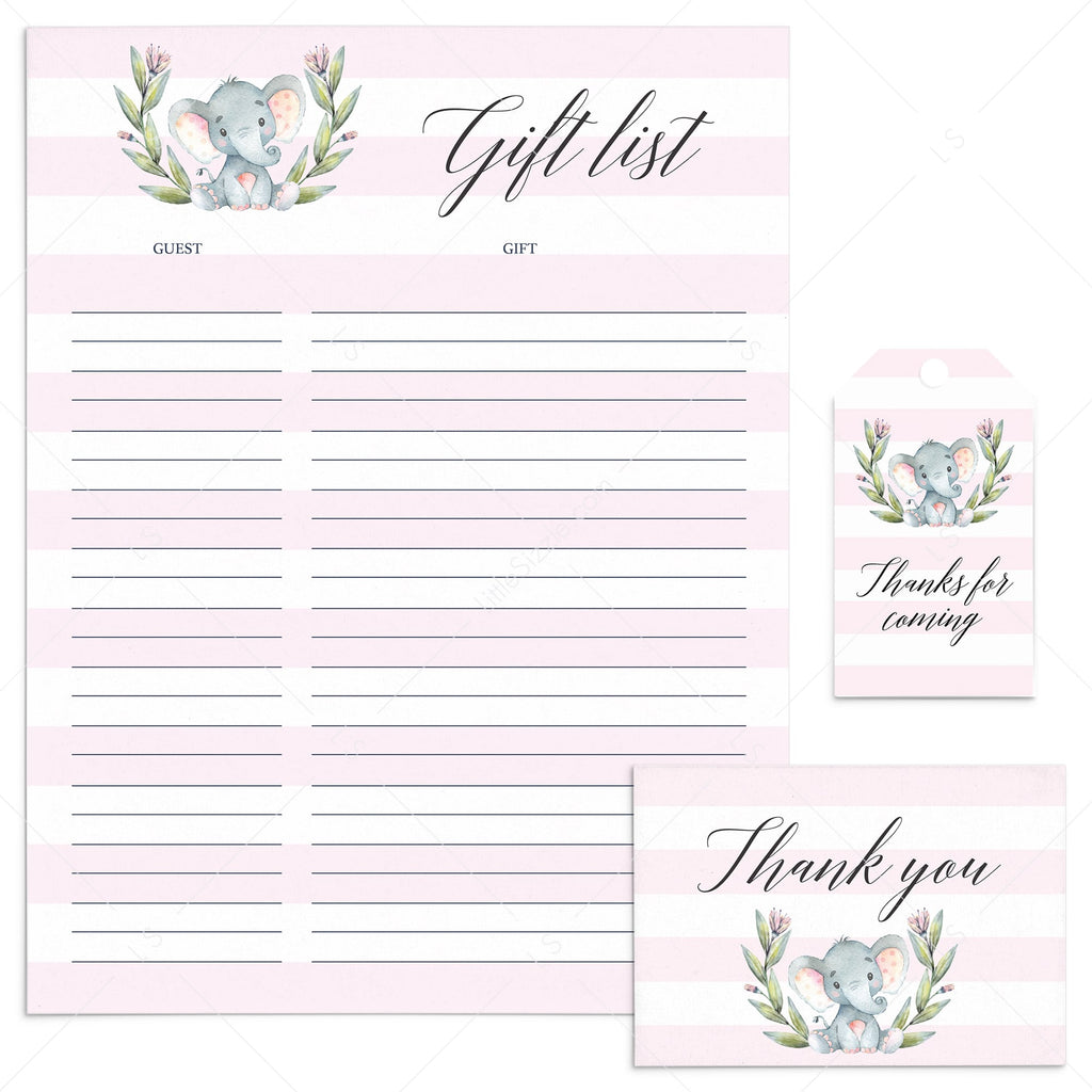 Pink Party Supplies Elephant Theme Instant Download by LittleSizzle
