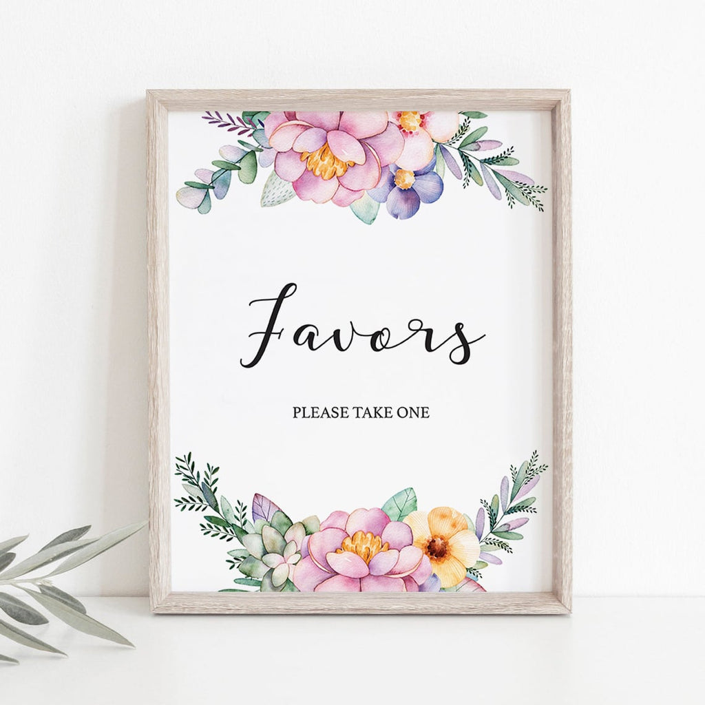 Instant download favors sign for flower shower by LittleSizzle