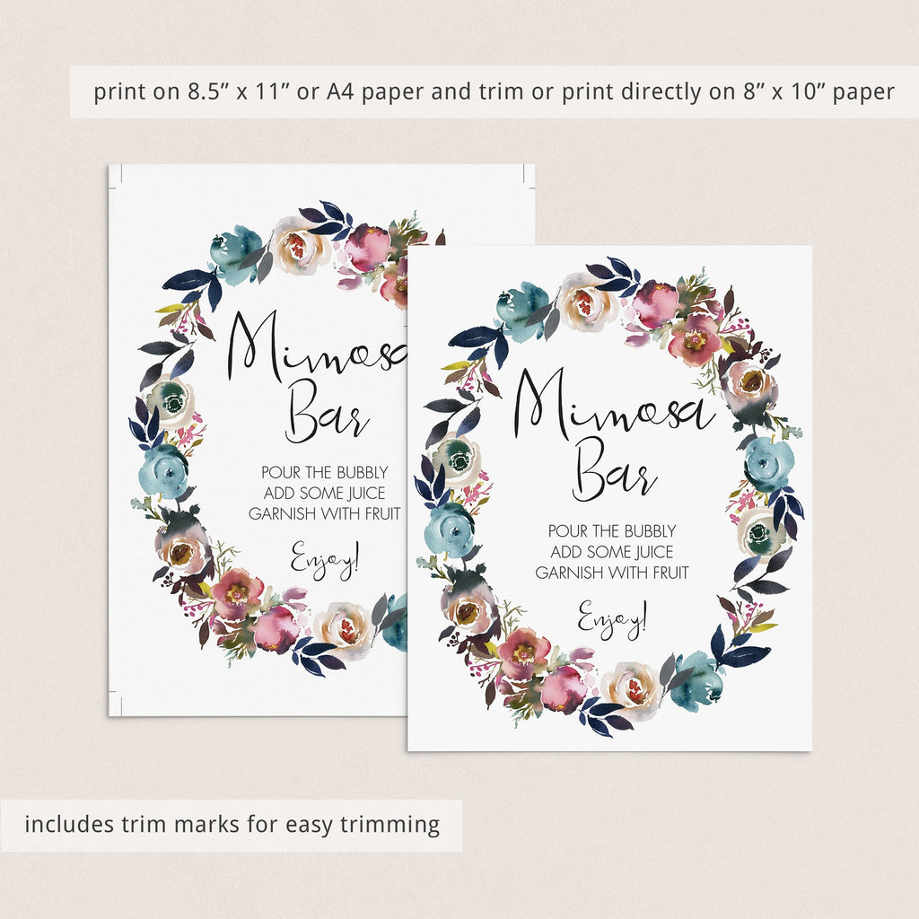 Flower shower mimosa bar sign printable by LittleSizzle