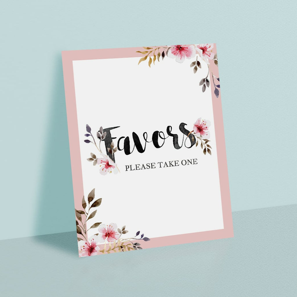 Printable Favors Sign with Blush Pink Flowers