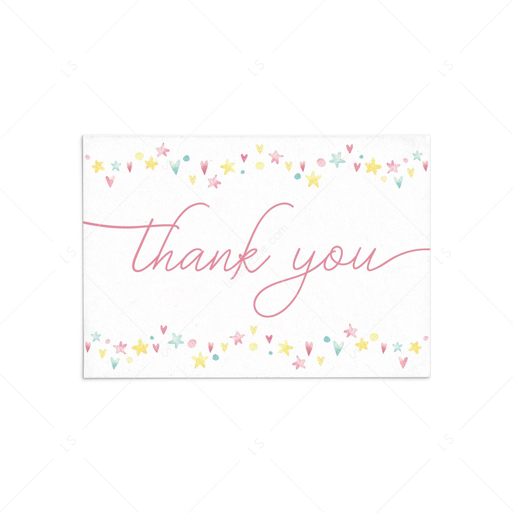 Pink and yellow thank you card download PDF by LittleSizzle