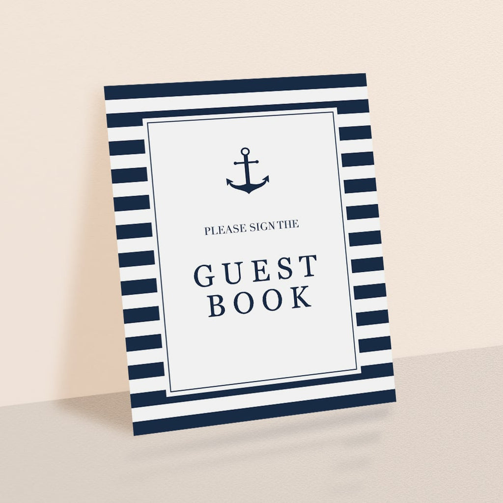 Nautical GuestBook Table Sign Printable