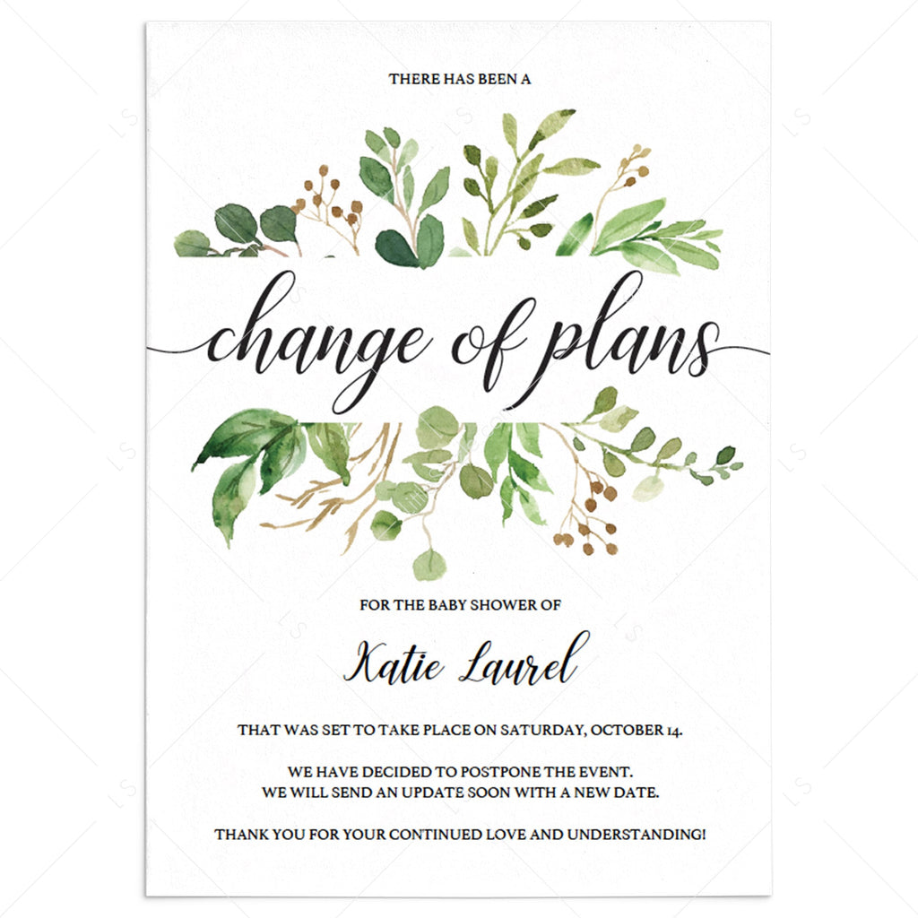 Greenery event new date announcement cards by LittleSizzle