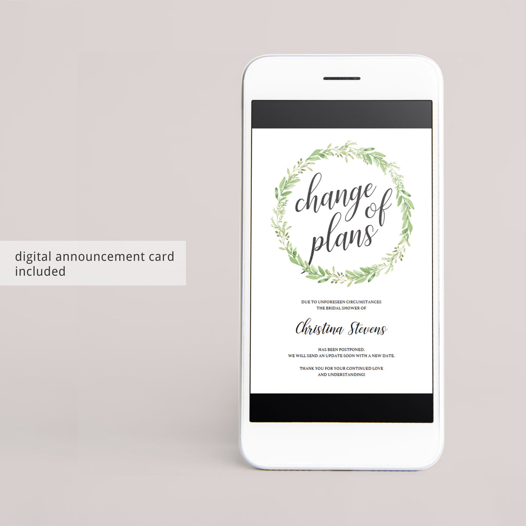 Digital postponed announcement for greenery bridal shower by LittleSizzle