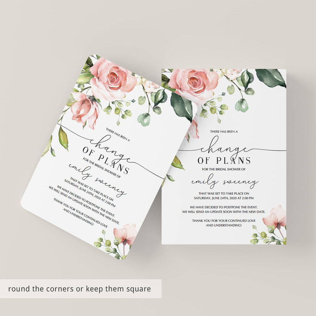 Postponement announcement template bridal shower by LittleSizzle