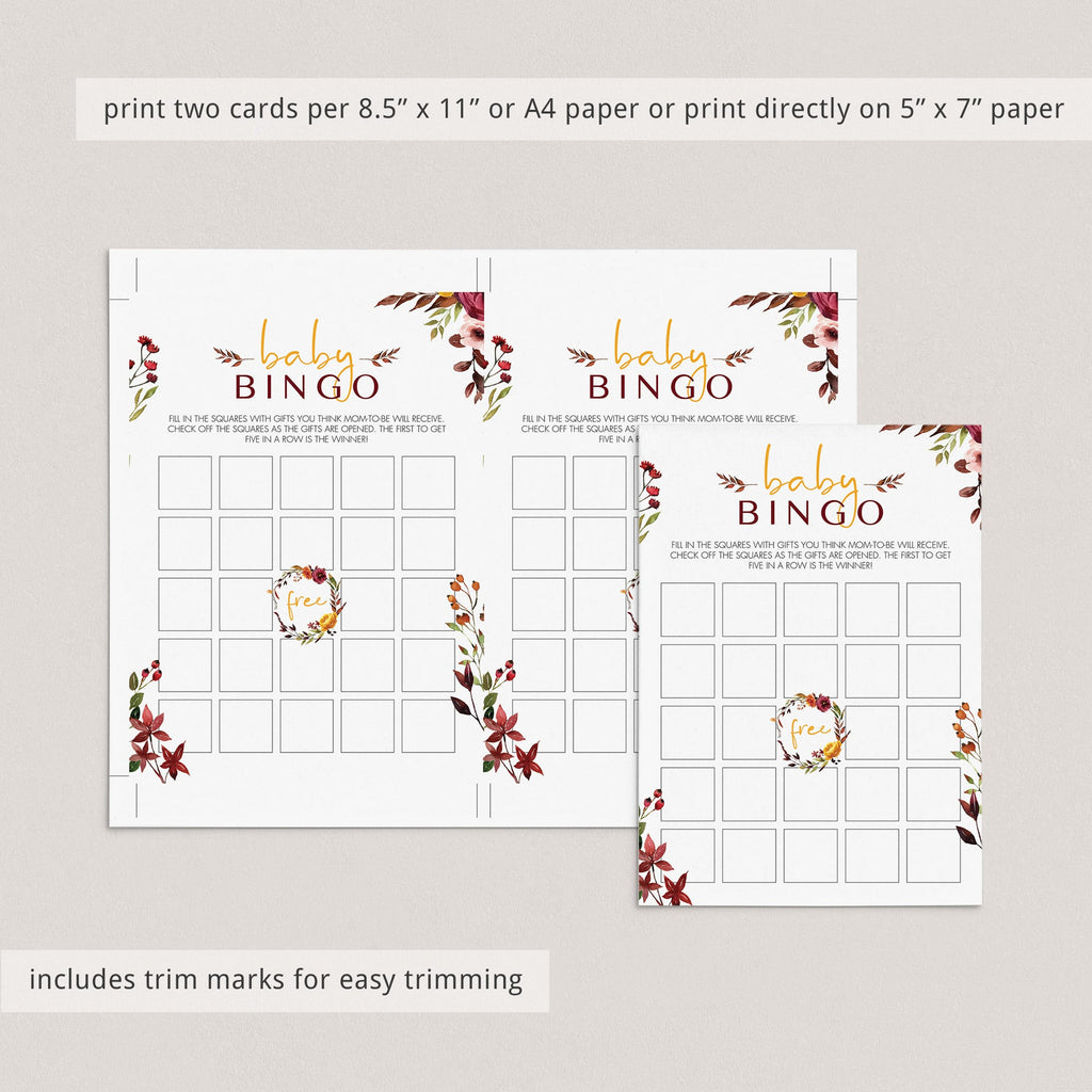 Bohemian baby shower bingo prefilled, blank cards and editable template by LittleSizzle