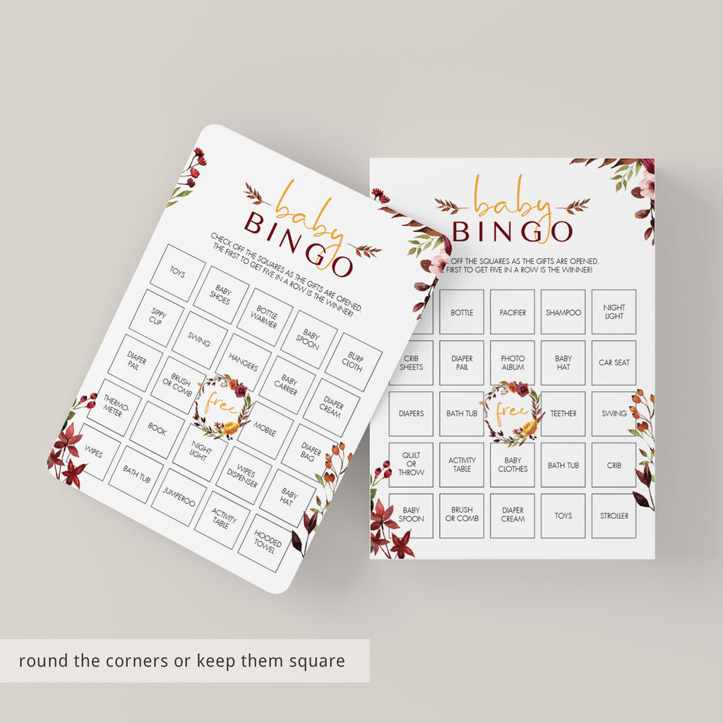 Prefilled bingo cards for baby shower boho theme by LittleSizzle