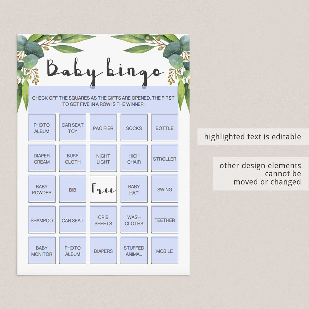 Gender neutral baby shower game prefilled bingo cards download by LittleSizzle
