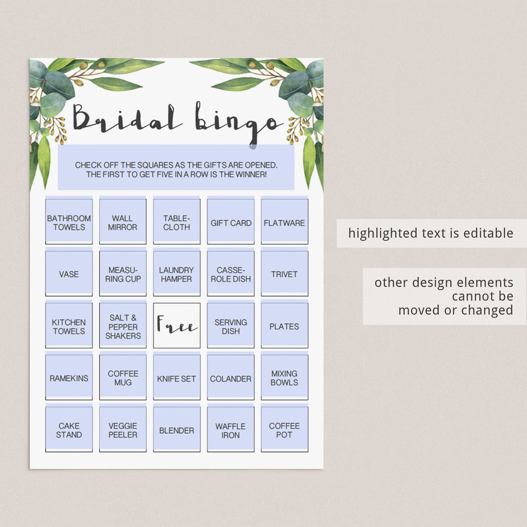 Printable Bridal Shower Bingo Cards Botanical