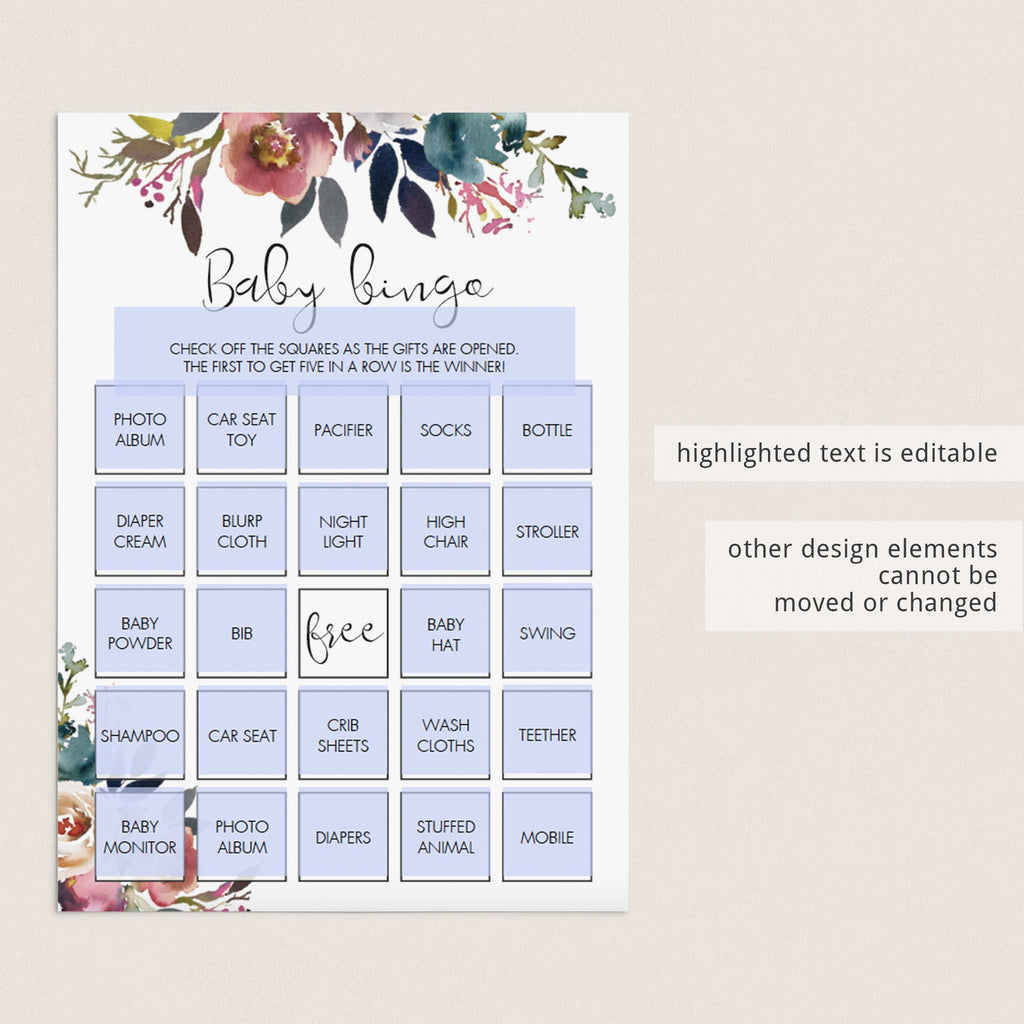 Watercolor flowers baby shower bingo cards download by LittleSizzle