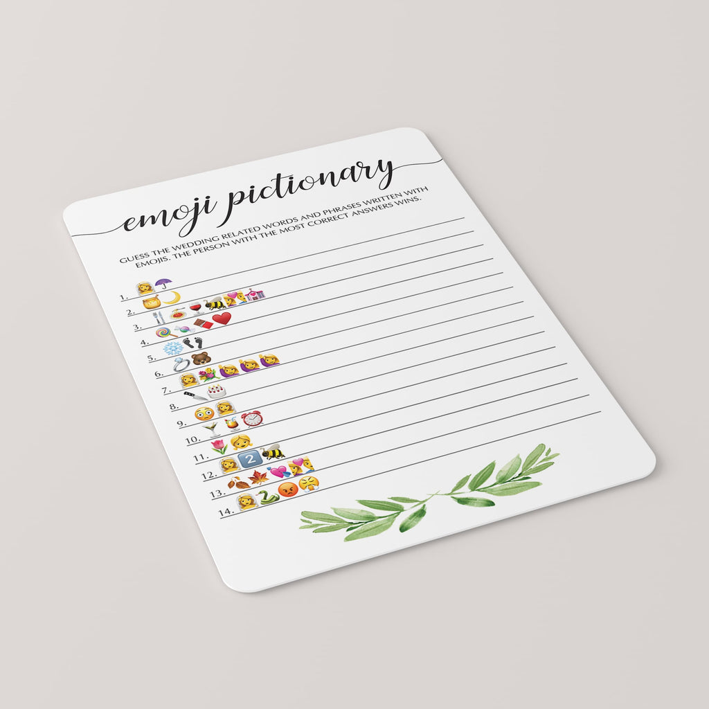 Botanical Emoji Pictionary Bridal Shower Game
