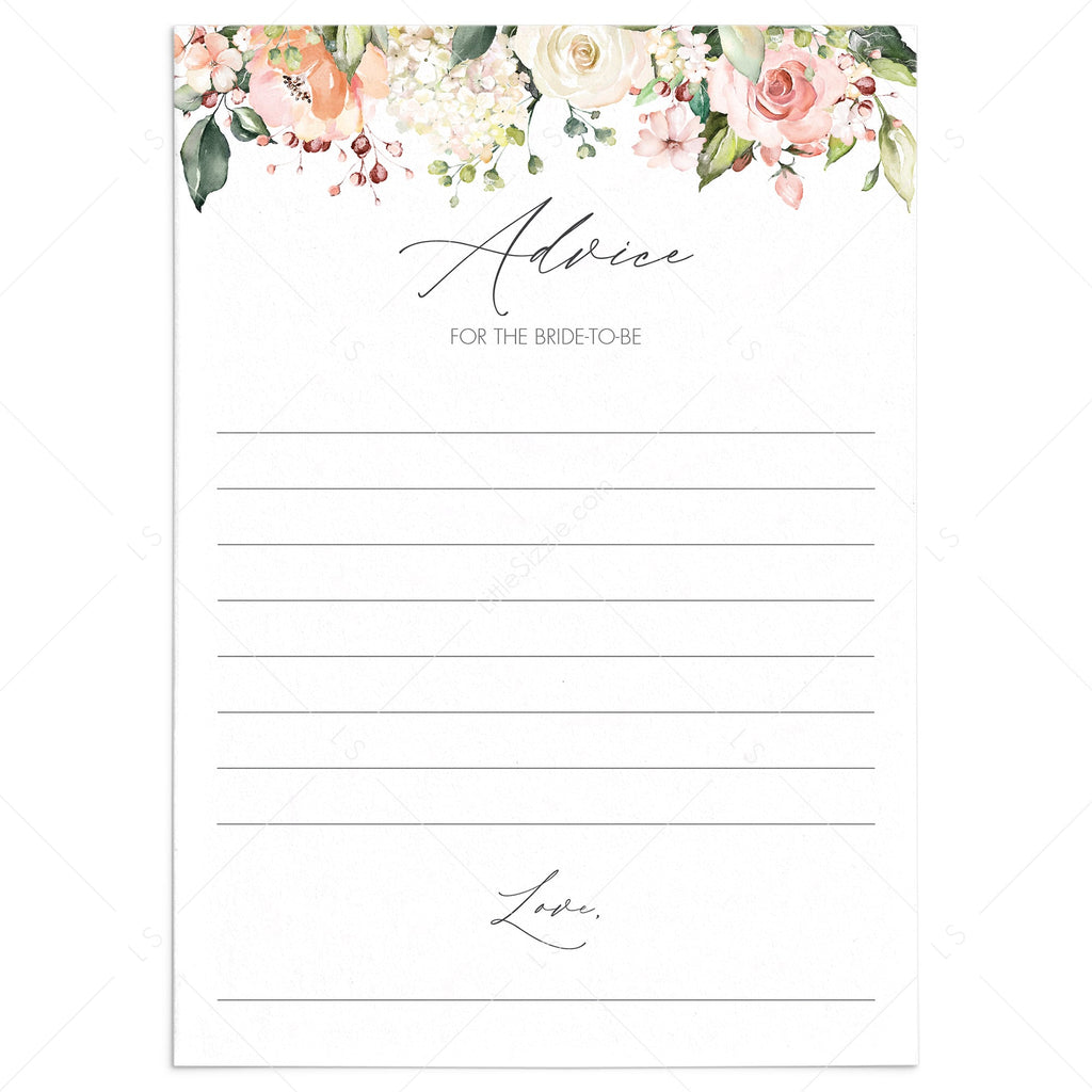 printable floral advice for the bride to be cards by LittleSizzle