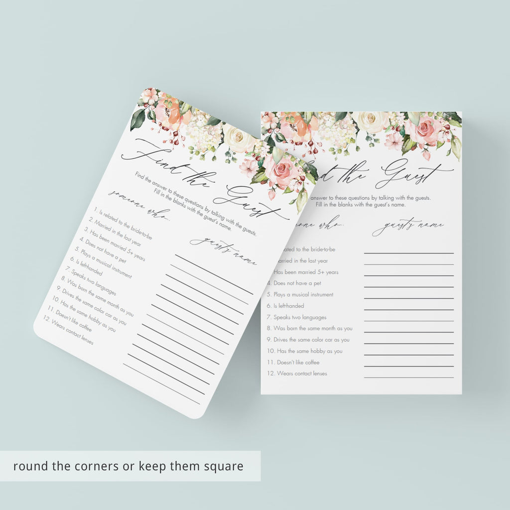 printable floral find the guest bridal shower game cards