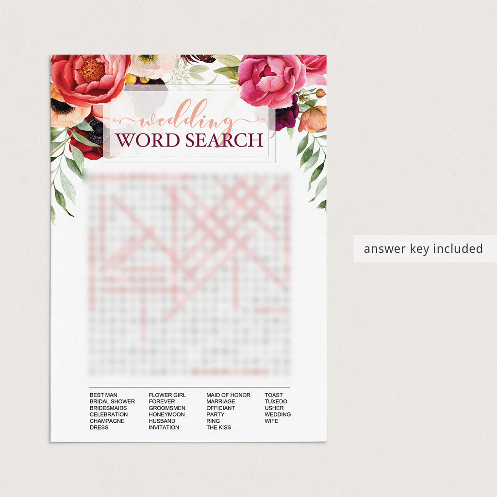 Red roses bridal shower game with answers by LittleSizzle