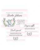 Pink and white striped baby shower invitation templates by LittleSizzle