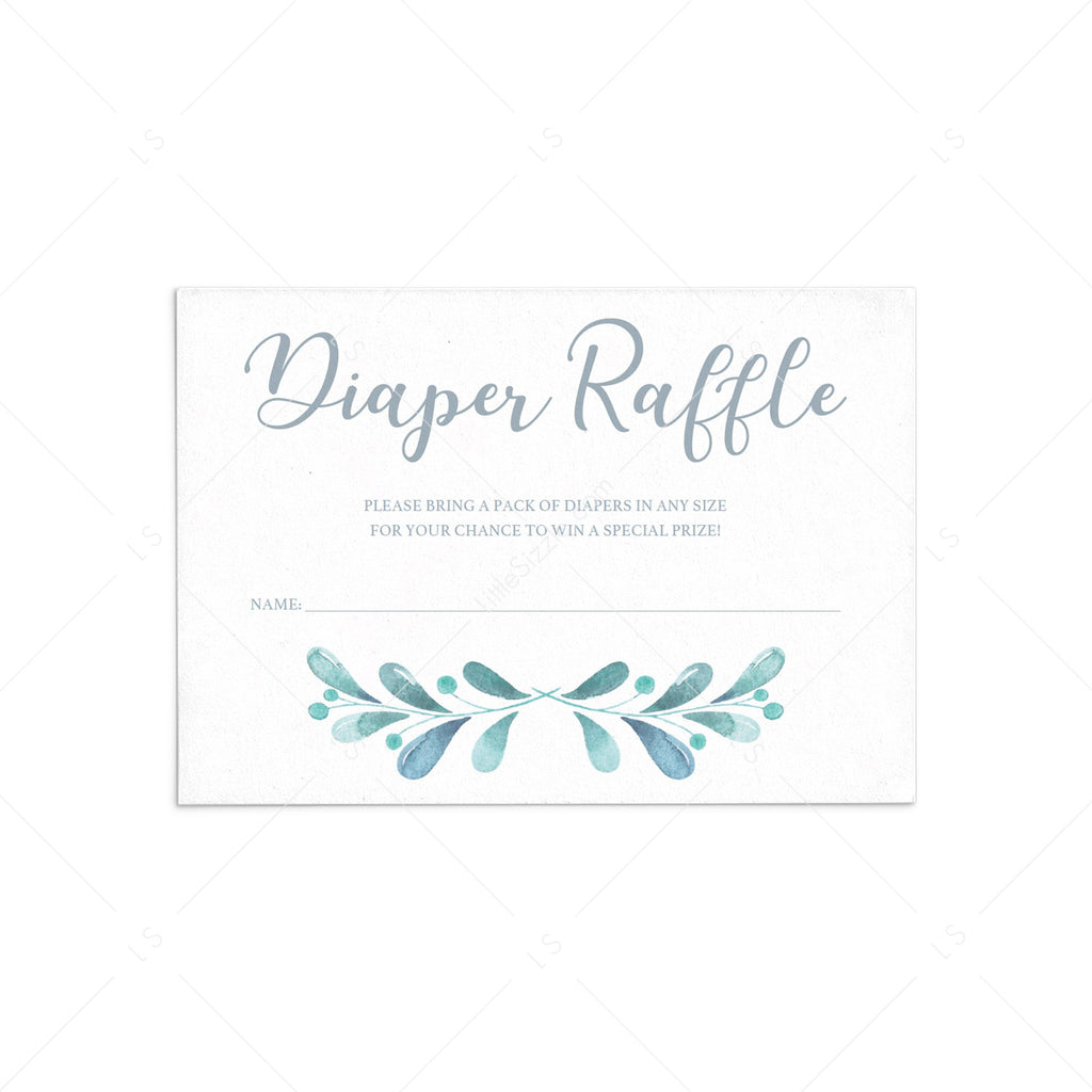 Printable diaper raffle game for winter baby party by LittleSizzle