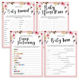 Blush Floral Baby Shower Game Pack for Girls