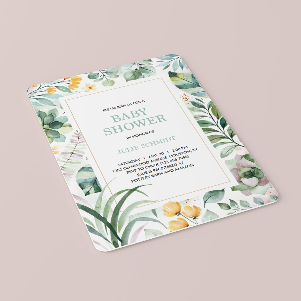 Botanical baby shower invites PDF template by LittleSizzle