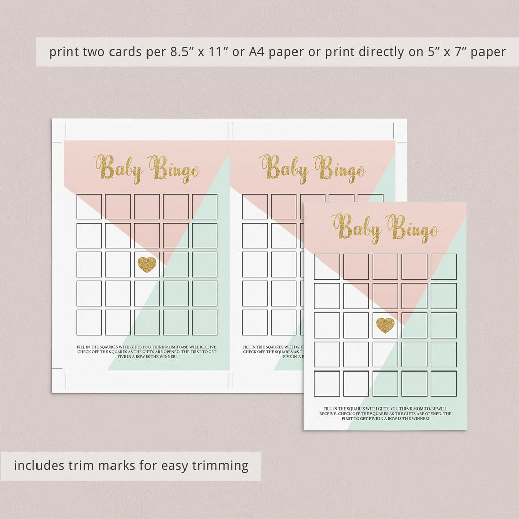 Printable baby bingo for girl baby shower by LittleSizzle
