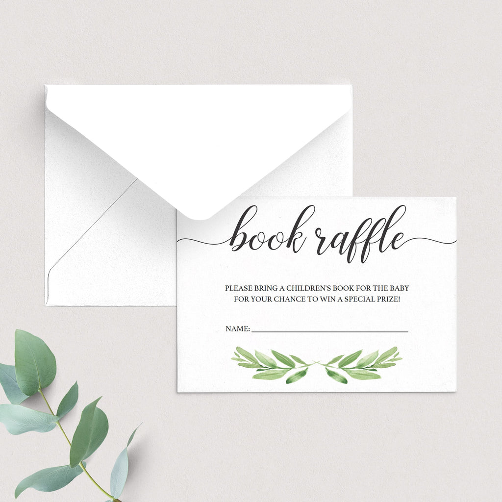 Printable book raffle cards baby shower by LittleSizzle